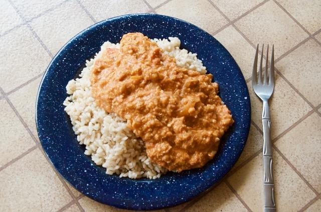 Not-butter-not-chicken on a plate.